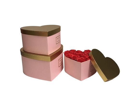 Paperboard Pantone Color Heart Shaped Cardboard Flower Boxes With Gold Color Lid