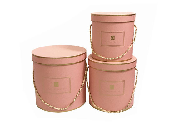 Round Paper Florist Hat Boxes , Luxury Cylindrical Flower Packaging Boxes